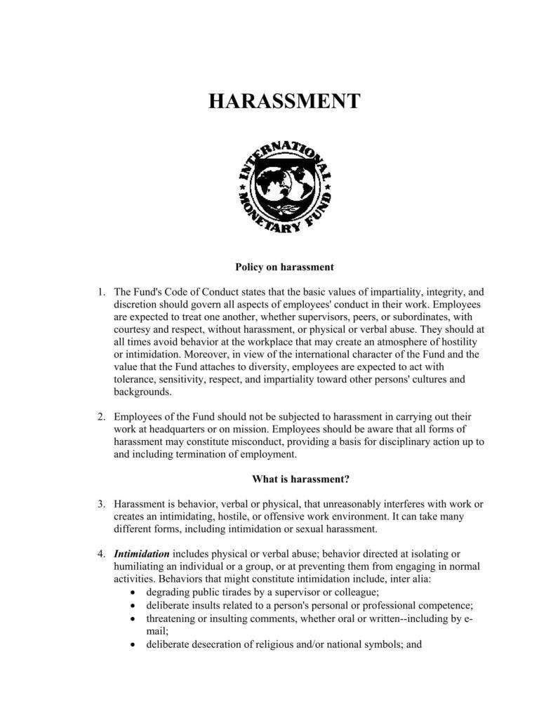 Harassment policy sample sexual