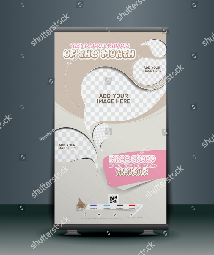 ice-cream-restaurant-roll-up-banner-design-template