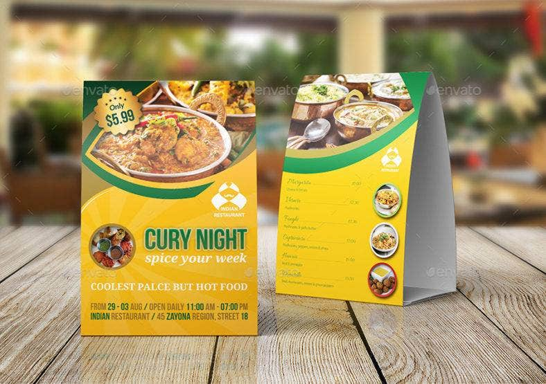 Indian Restaurant Table Tent Template