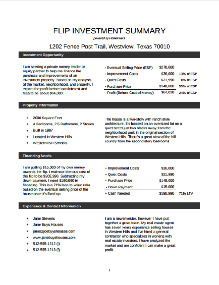 investment-property-summary-template