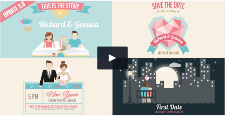 invitation and love story slideshow wedding after effects template