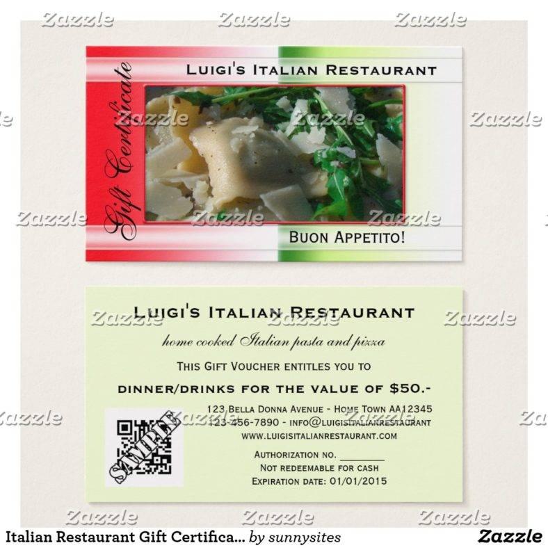 Italian Restaurant Gift Certificate Template