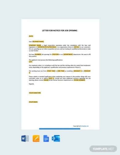 letter for notice for job opening template