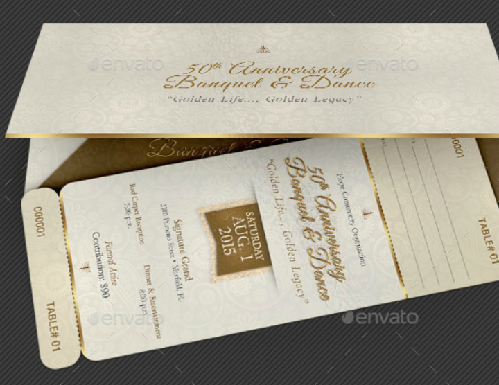 luxurious anniversary banquet ticket template