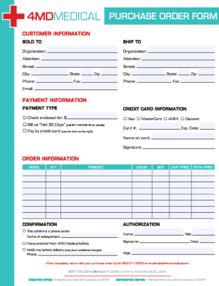 medical purchase order form