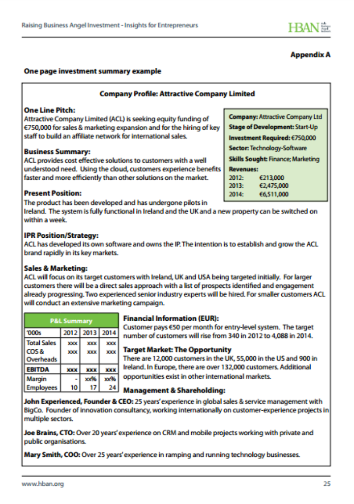 one-page-investment-summary-template