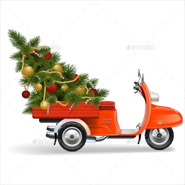 orange scooter with christmas tree
