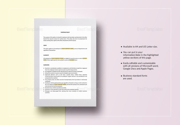 overtime policy template