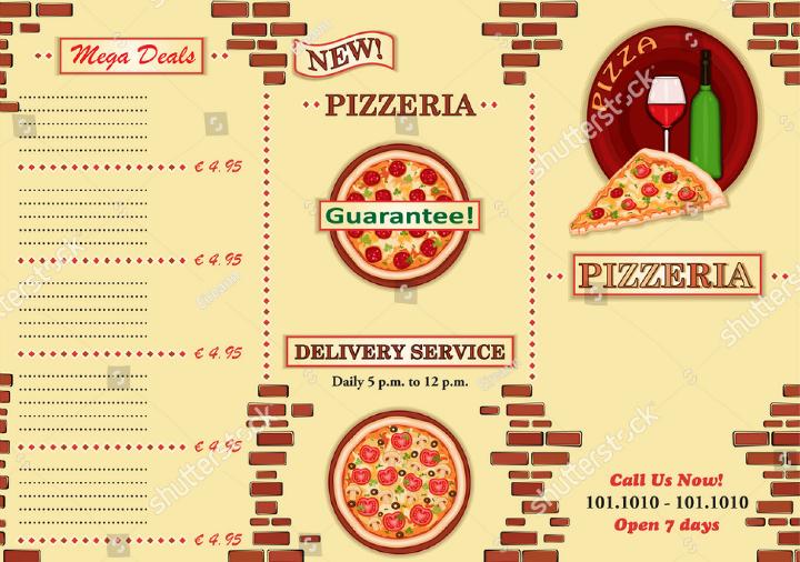 pizzeria take away italian restaurant brochure template