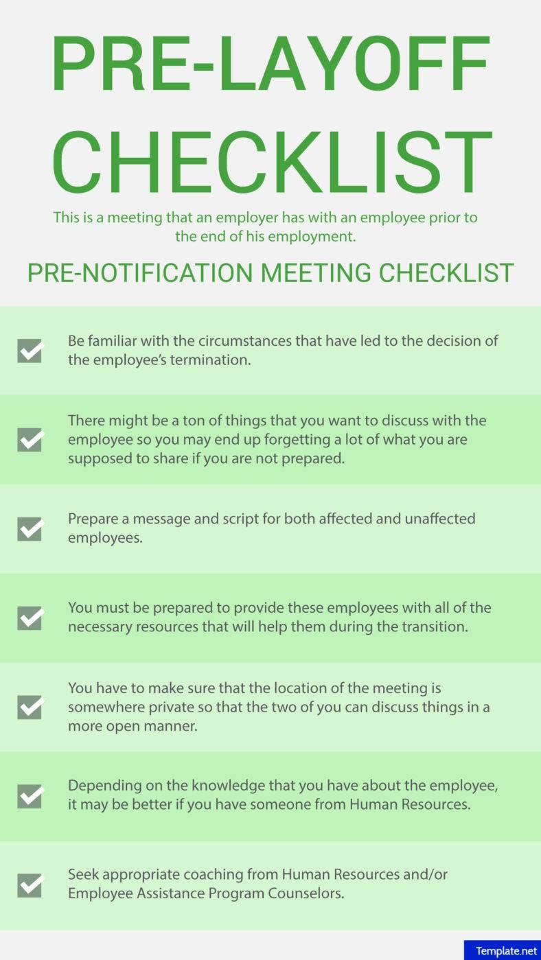 Pre-notification meeting checklist
