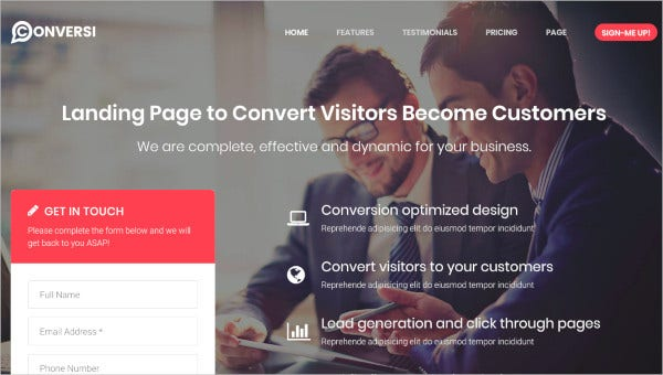 professional conversion landing page