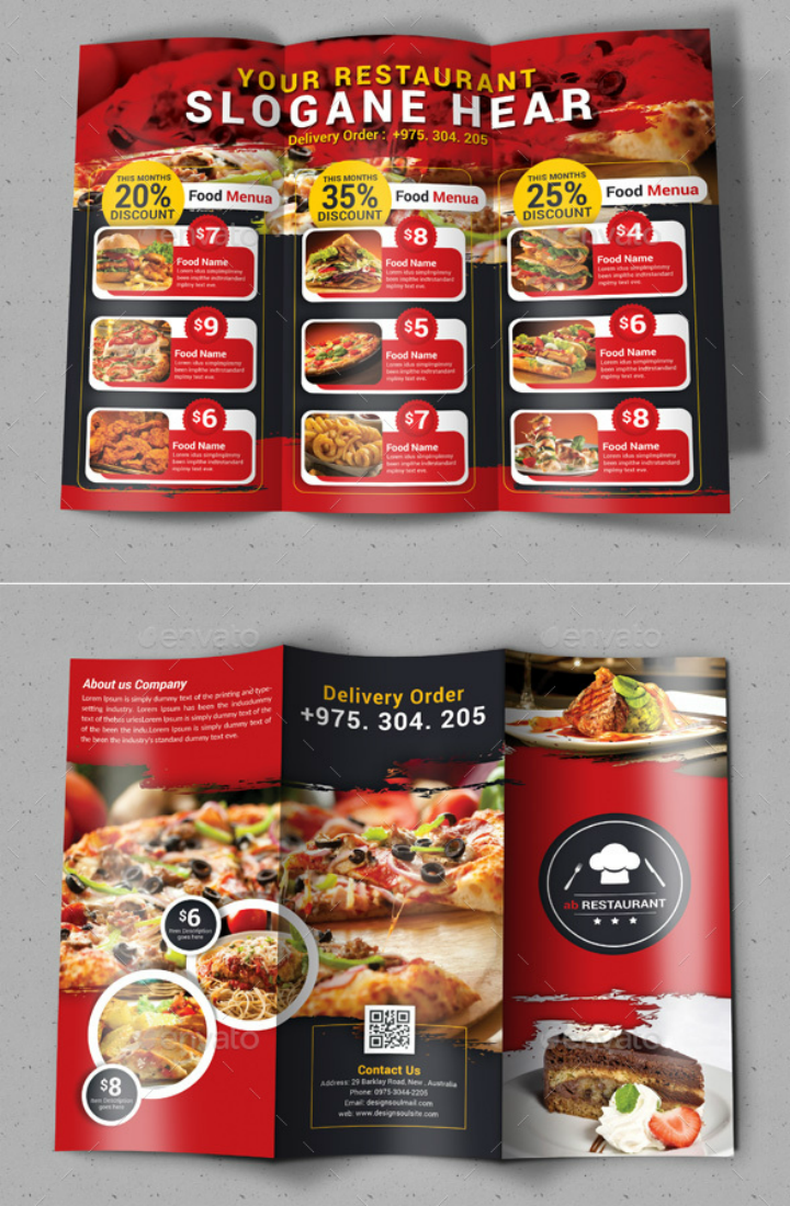 red-restaurant-trifold-brochure-template