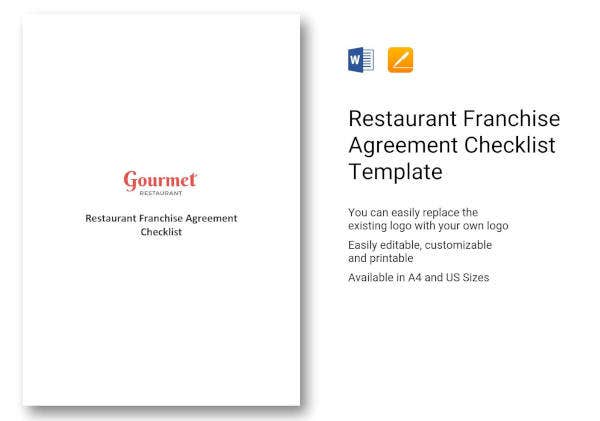 restaurant franchise agreement checklist template
