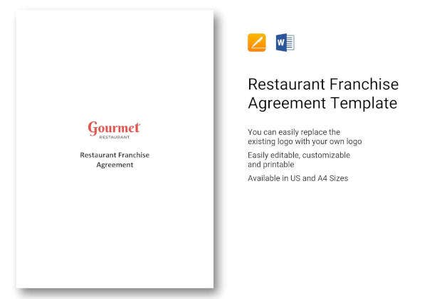 restaurant franchise agreement template