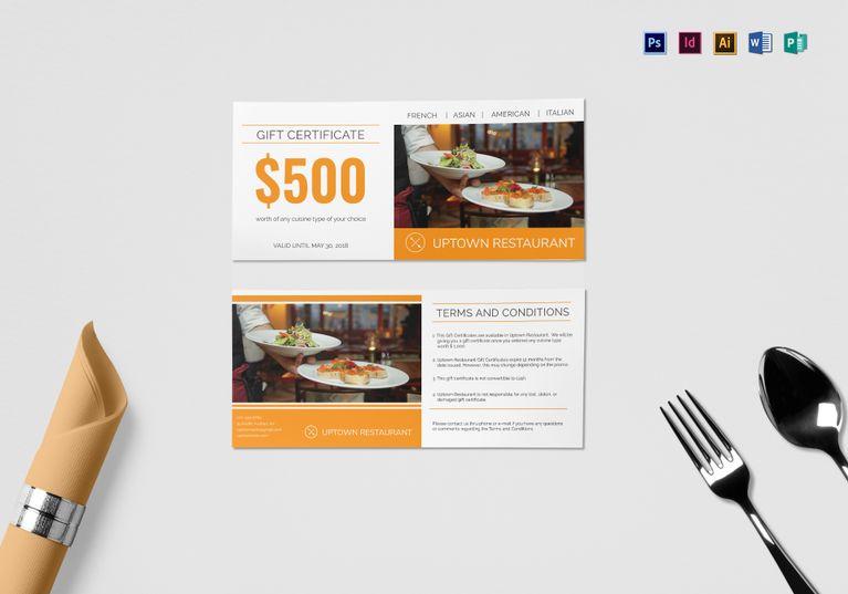 Restaurant Gift Certificate PSD Template