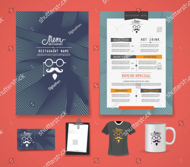 restaurant menu letterhead template pack