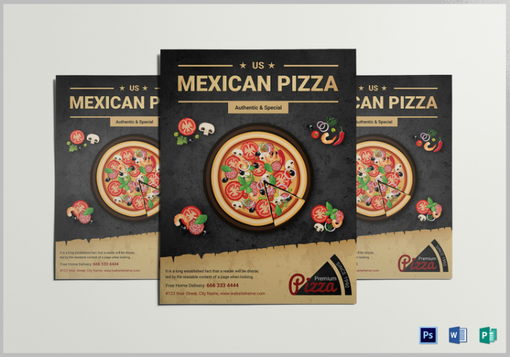 restaurant mexican pizza flyer design template