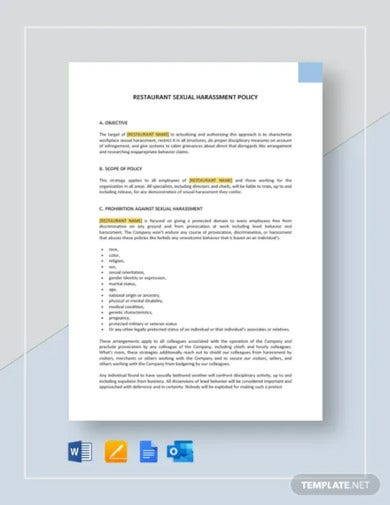 restaurant sexual harassment policy template