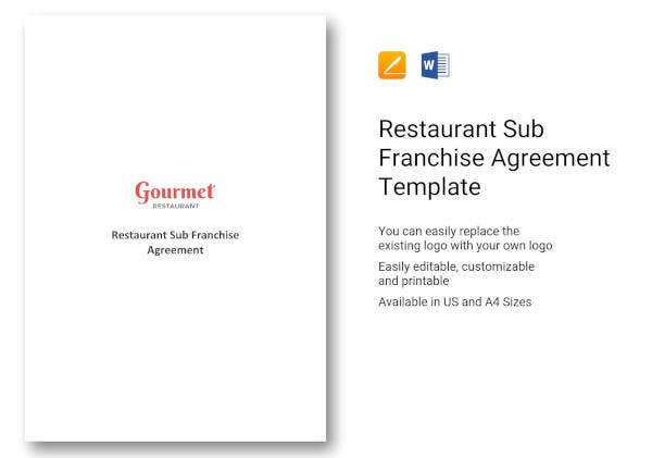 restaurant sub franchise agreement template