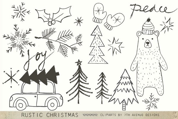rustic christmas tree cliparts