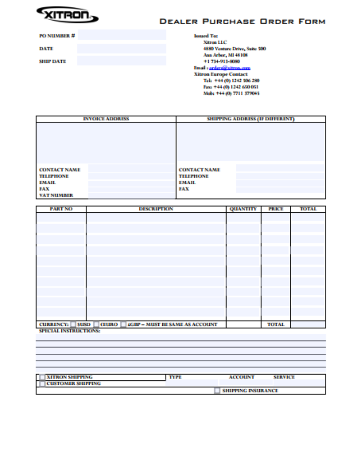9 purchase order forms templates pdf doc excel free