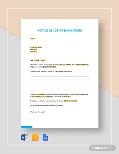simple notice of job opening form template