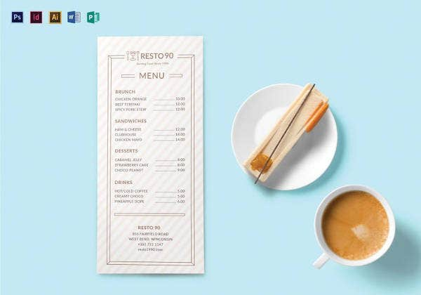 simple restaurant menu template
