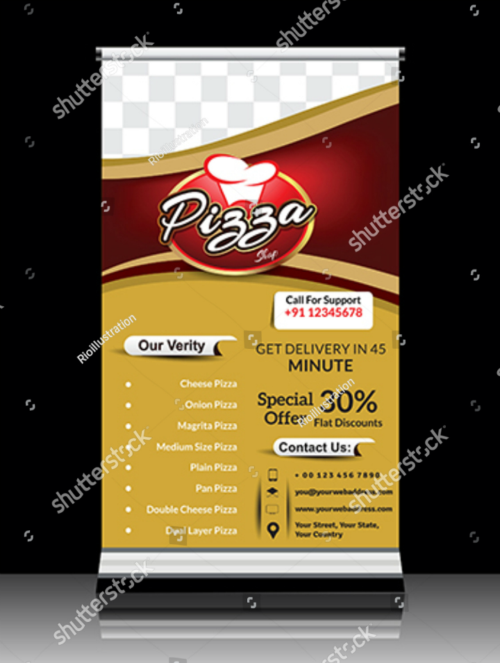 standing pizza store roll banner template