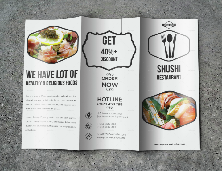 sushi restaurant trifold brochure template