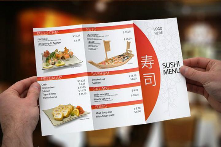 tri fold sushi menu brochure template