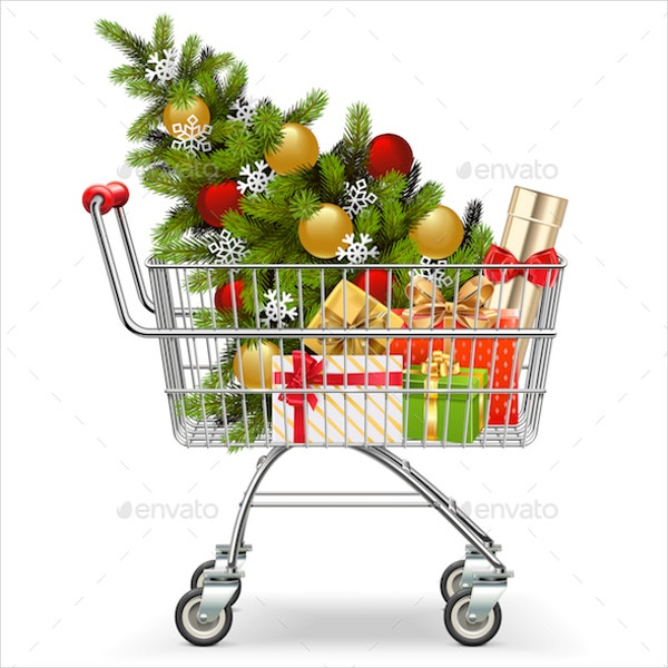 vector supermarket cart with christmas tree