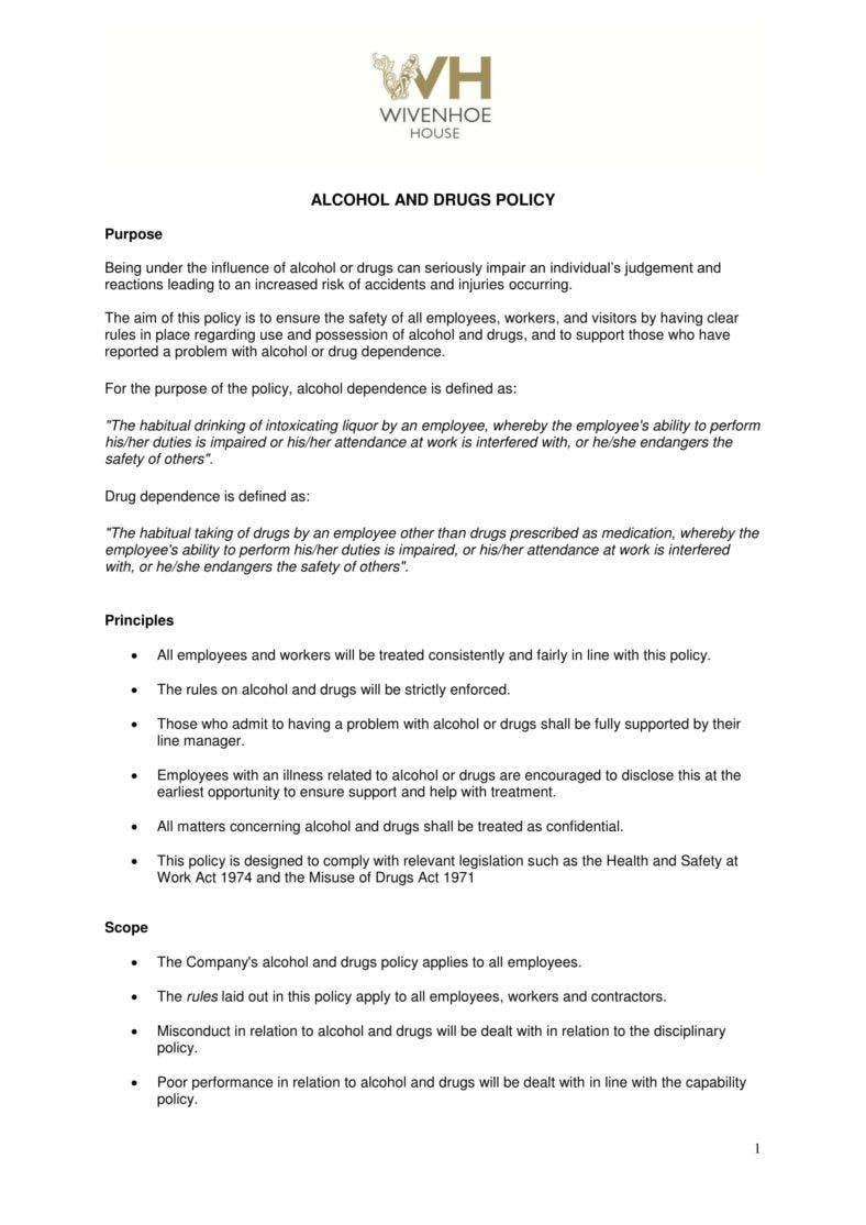 5+ Drug & Alcohol Policy Templates - PDF, DOC | Free & Premium Templates