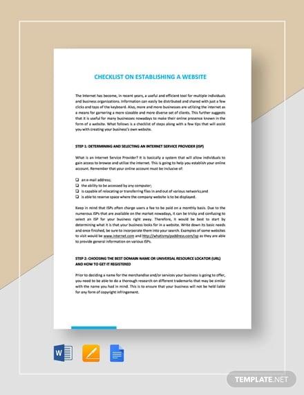 checklist for establishing a website