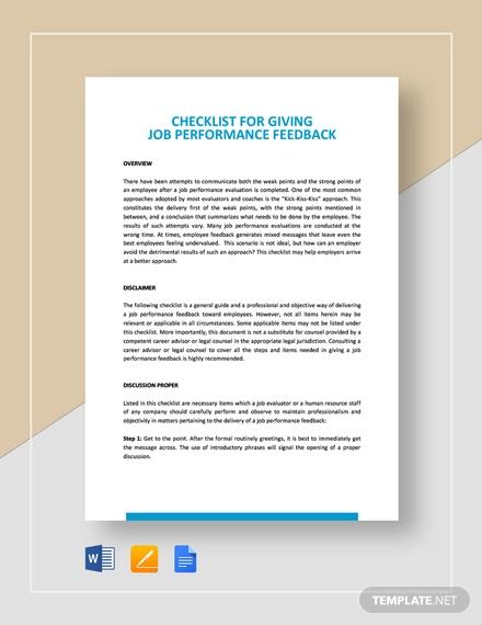 checklist giving job performance feedback