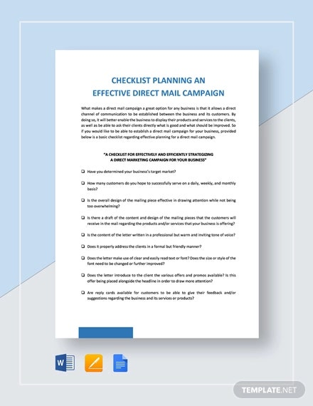 checklist planning an effective direct mail campaign