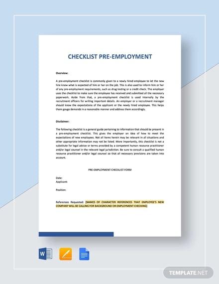checklist pre employment