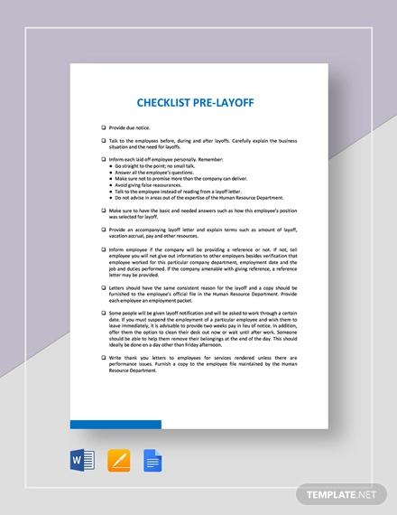 checklist pre layoff