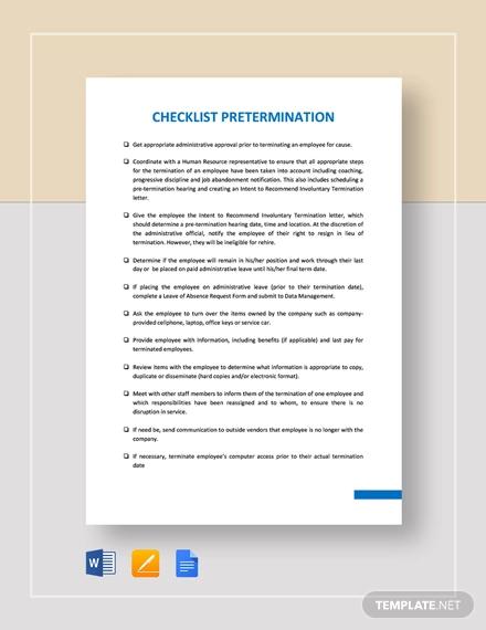 checklist pre termination