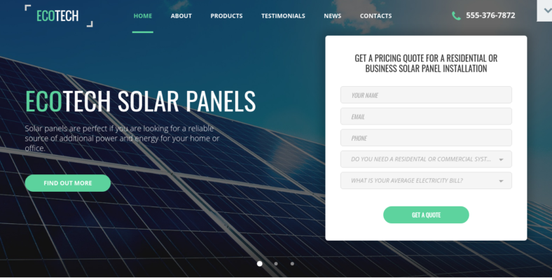 Solar Energy Html5 Landing Page Template