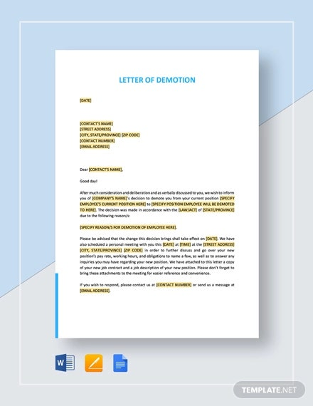letter of demotion