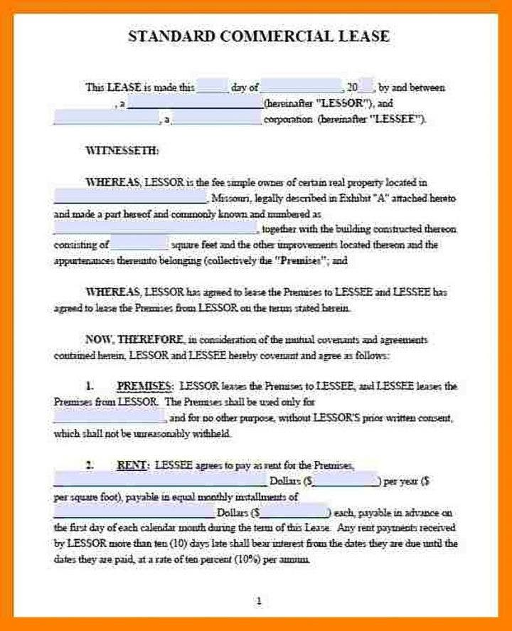 Lease Contract Templates For Restaurant Cafe Bakery  Pdf Doc
