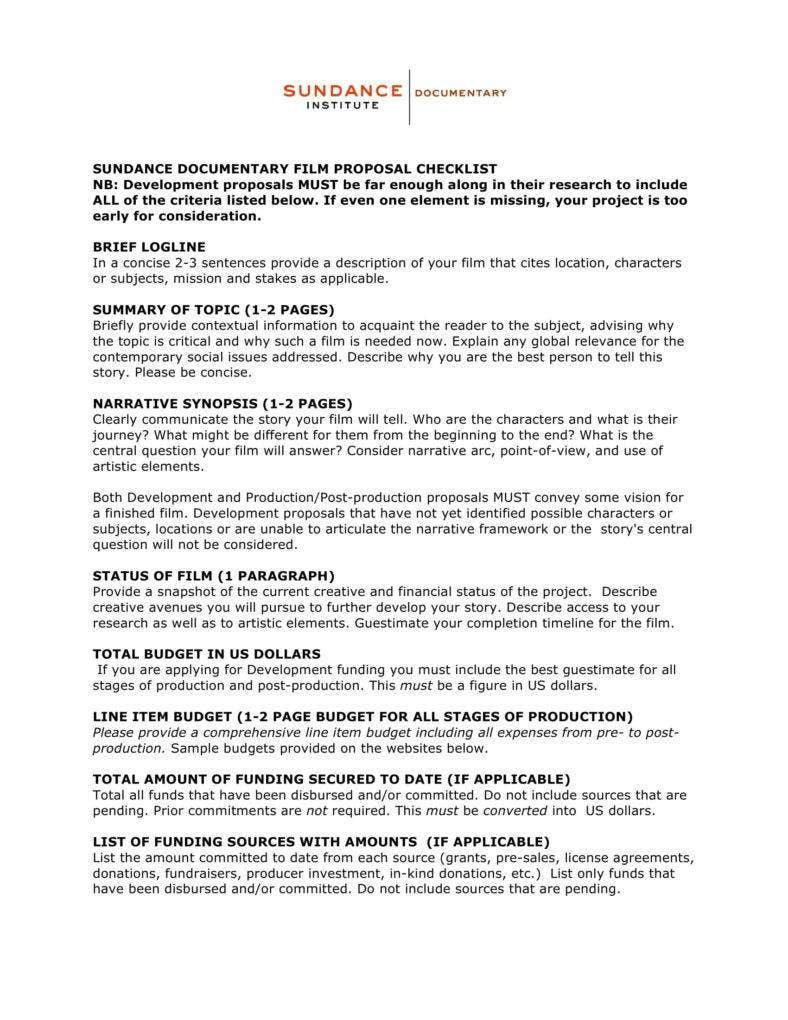 Doentary Film Proposal Checklist