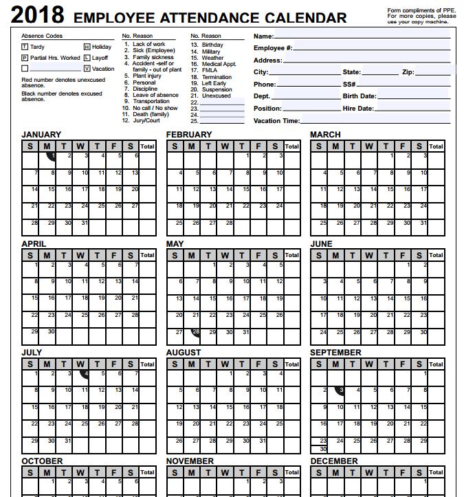 printable 2017 employee attendance calendar janice