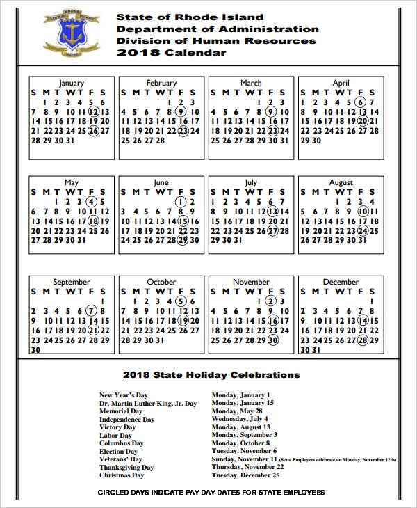 2018 holiday calendar template