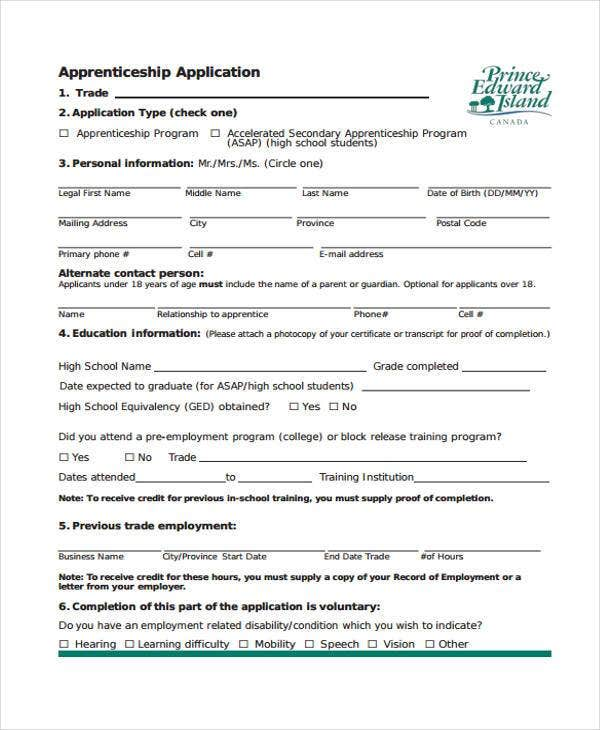 Apprenticeship Application Agreement Form