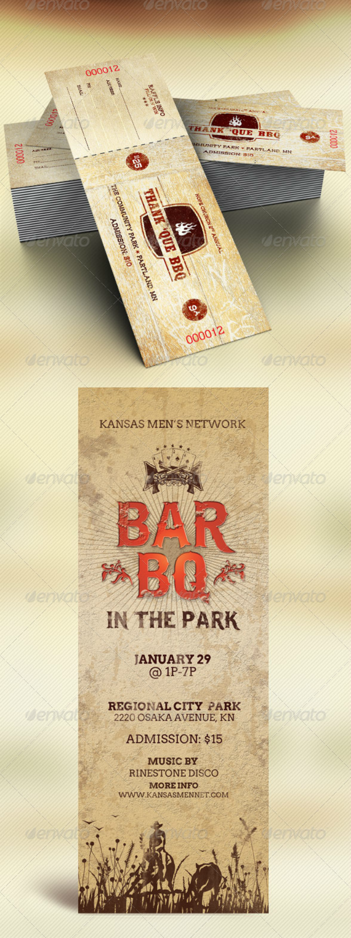 barbecue restaurant flyer and ticket template bundle