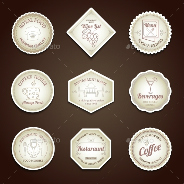 brown-restaurant-label-set-template