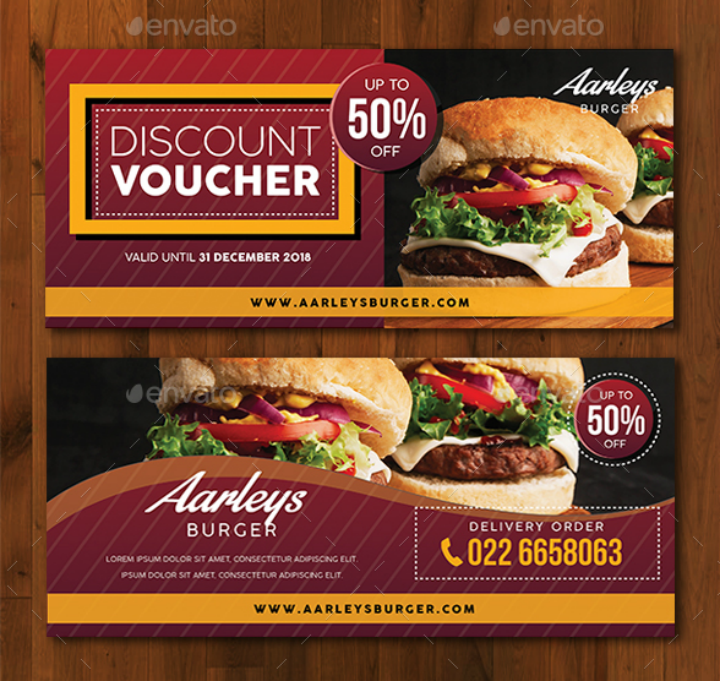 burger restaurant discount voucher card template