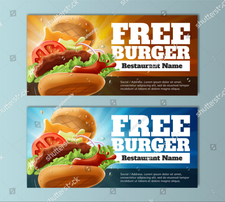 burger restaurant voucher ticket template