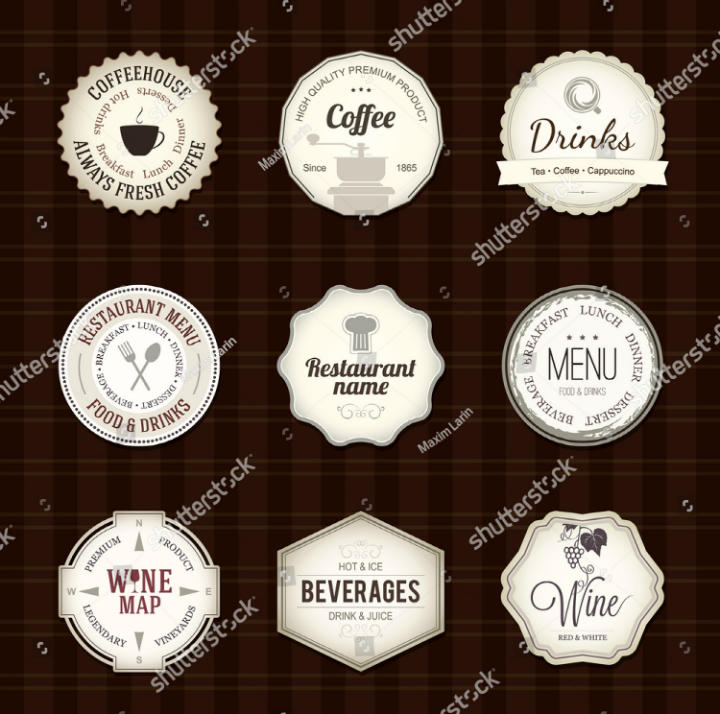 cafe restaurant label tags template set